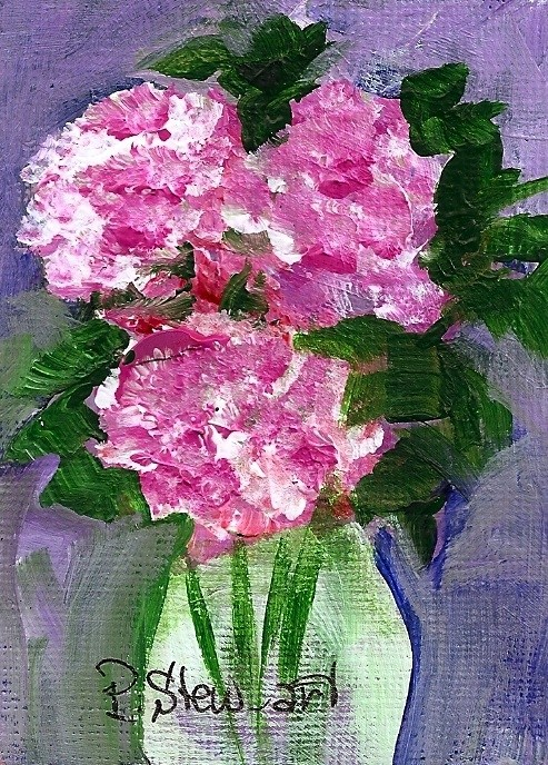 """""""Carnations in a Vase, ACEO, Original, ala prima style, signed by artist"""" original fine art by Penny Lee StewArt"""