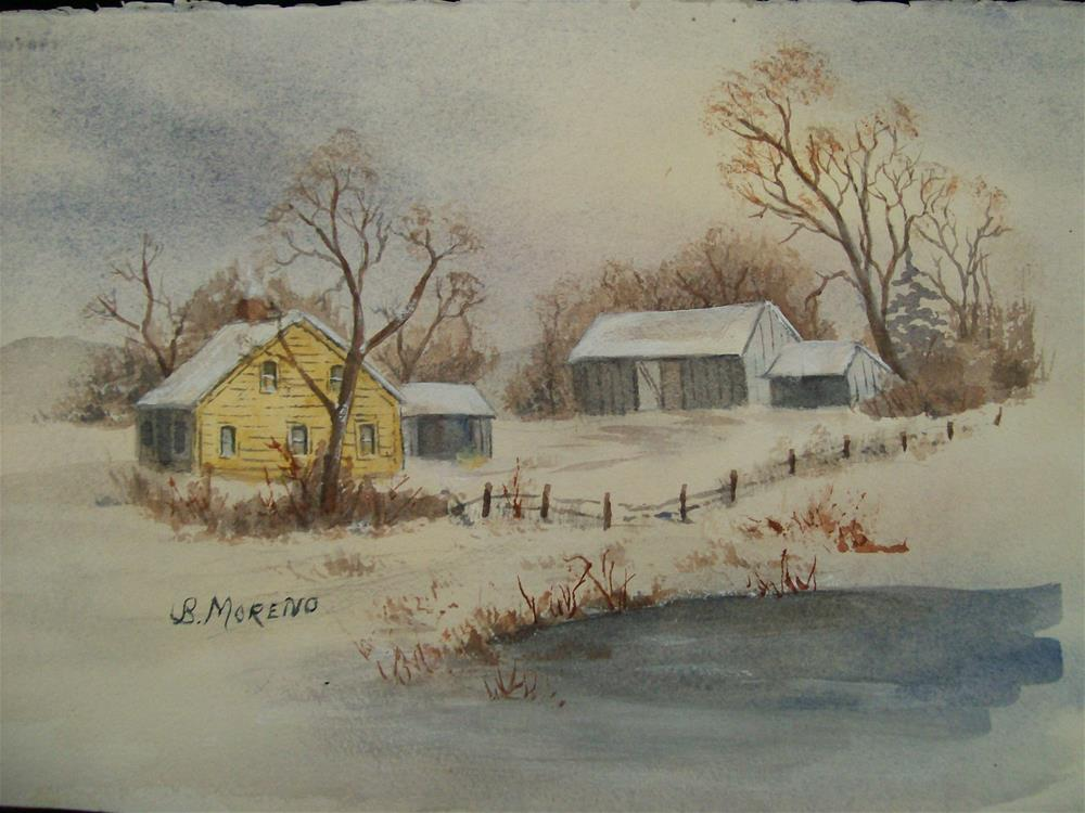 """WINTER ON THE FARM"" original fine art by bridget moreno"