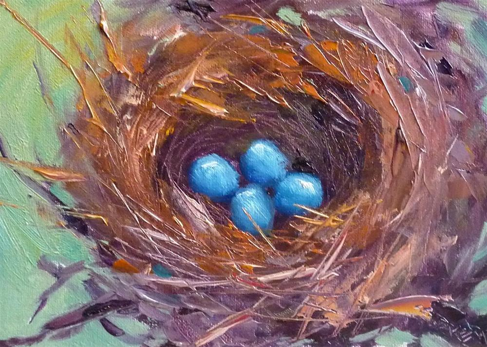 """Demo Monday! Bird Nest in Oil"" original fine art by Karen Margulis"