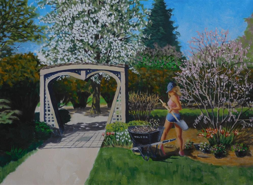 """Spring Cleaning the Bridal Grove"" original fine art by R. L. Einhaus"