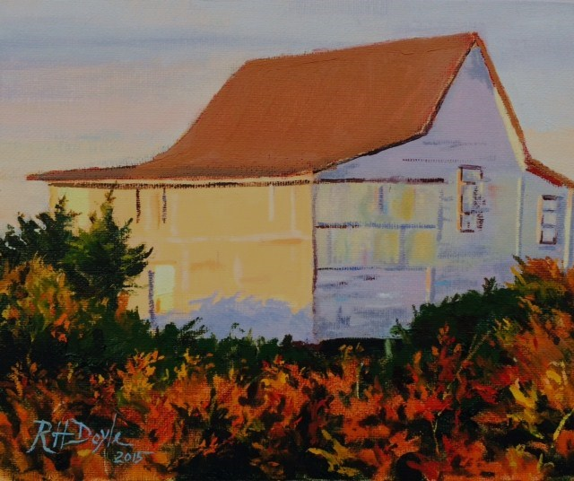 """West Meadow Cottage at Sunset"" original fine art by Richard Doyle"