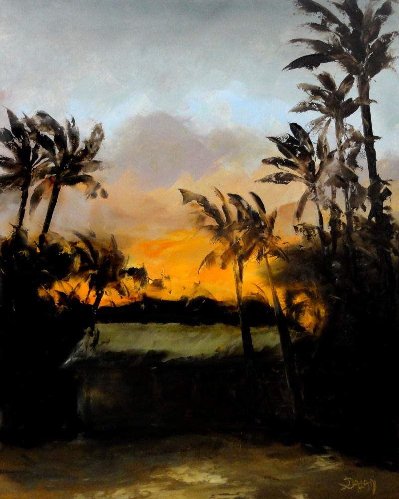 """Beach House Sunset Kailua Hawaii"" original fine art by Dalan Wells"