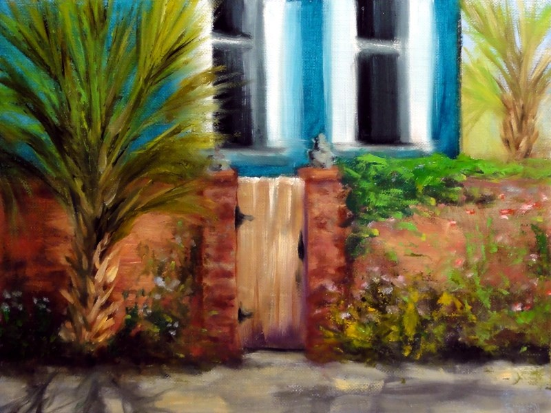 """New Orleans Garden District Gate Plein Air"" original fine art by Dalan Wells"