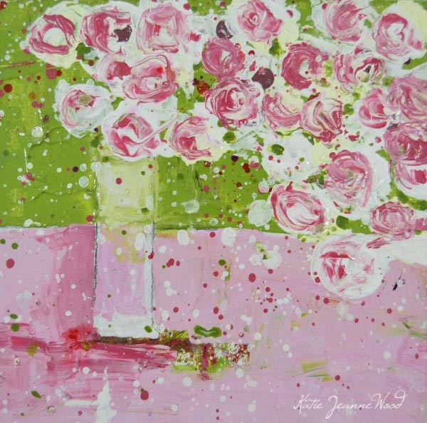 """Pink cottage chic floral painting No 173"" original fine art by Katie Jeanne Wood"
