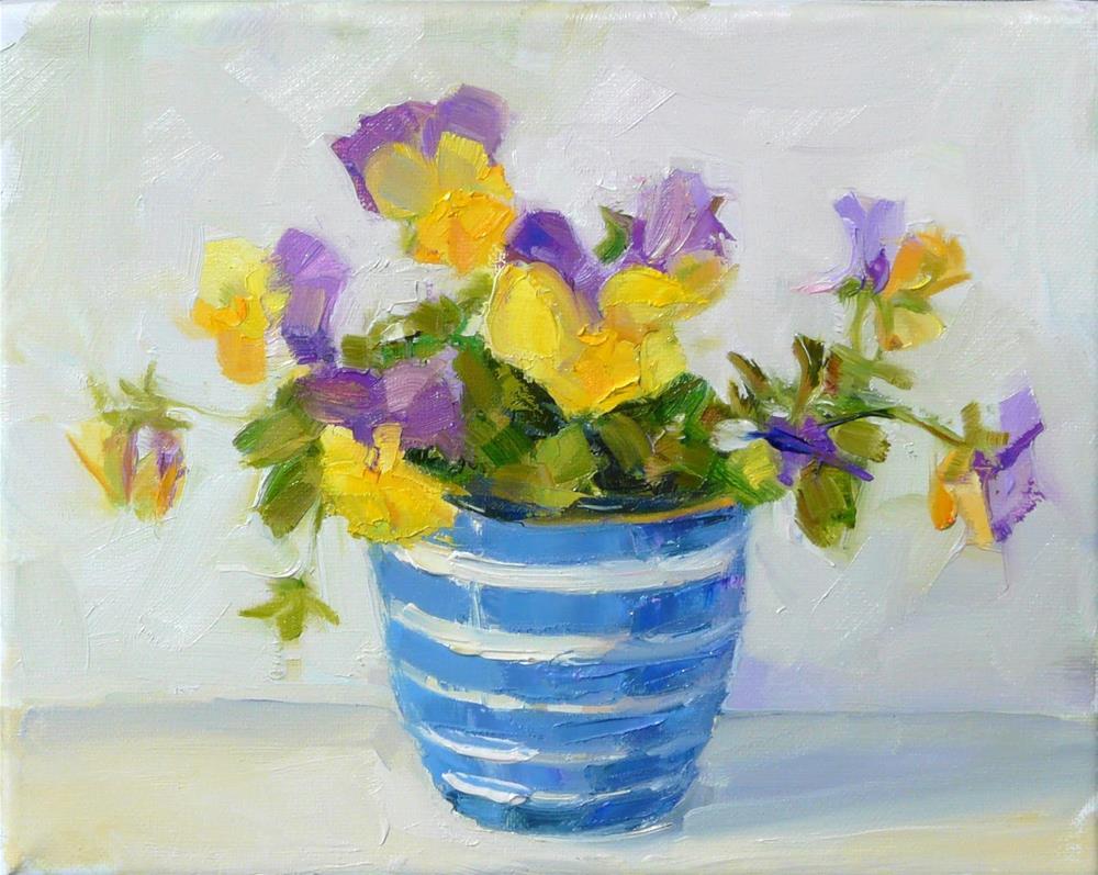 """YellowPurple Pansies,still life,oil on canvas,8x10,price$250"" original fine art by Joy Olney"