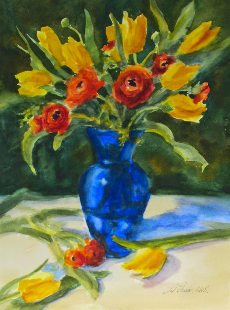 """Watercolor Demonstration-Tulips & Ranunculus"" original fine art by Pat Fiorello"