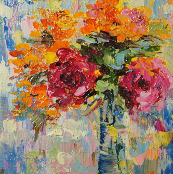 """Roses flower arrangement, No.2 mini treasure palette knife paiting 4x4"" original fine art by Marion Hedger"