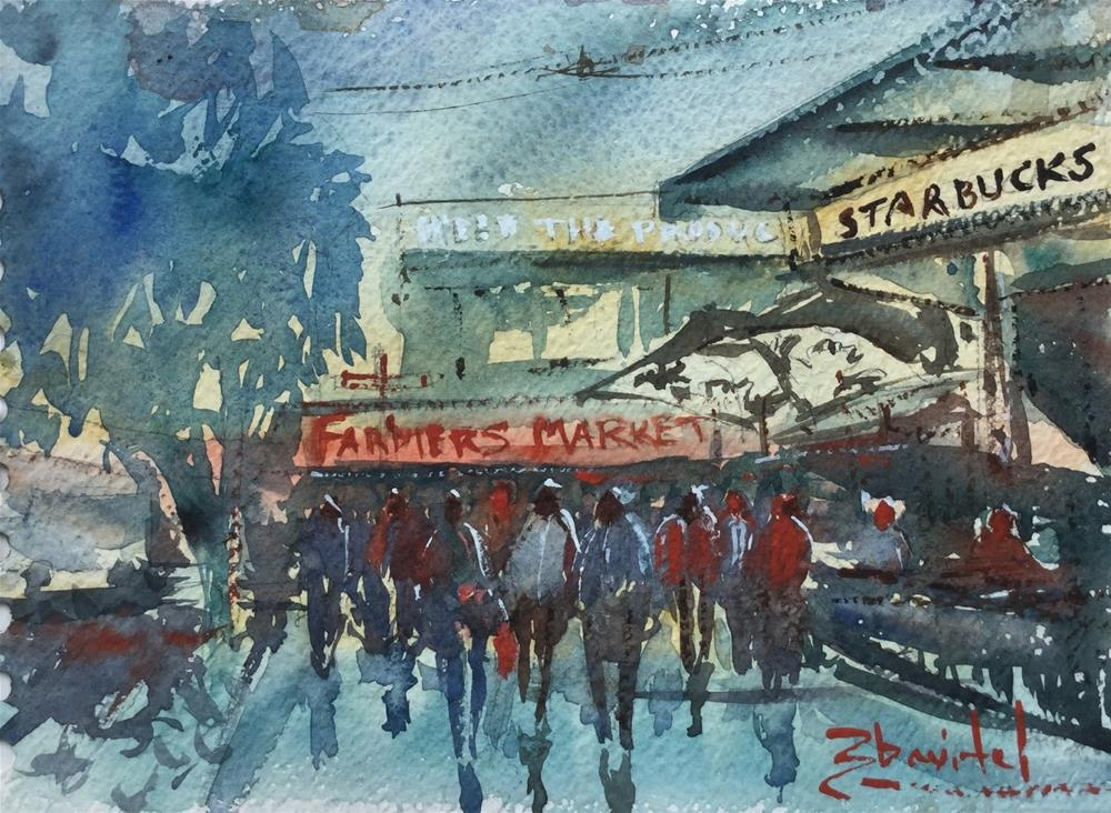 """Starbucks in Seattle, Seattle Starbucks near Farmers Market by Artist Carolyn Zbavitel"" original fine art by Carolyn Zbavitel"