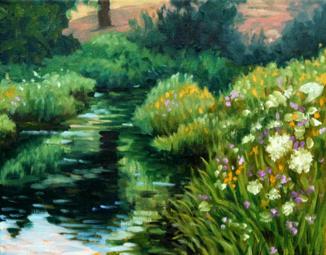 """Yarrow and wildflowers by the stream"" original fine art by Hilary J. England"