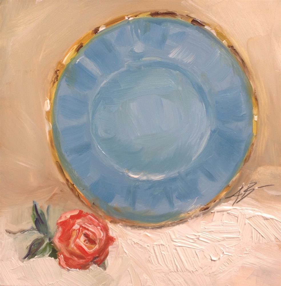 """All Blue / gold trim Plate"" original fine art by Annette Balesteri"