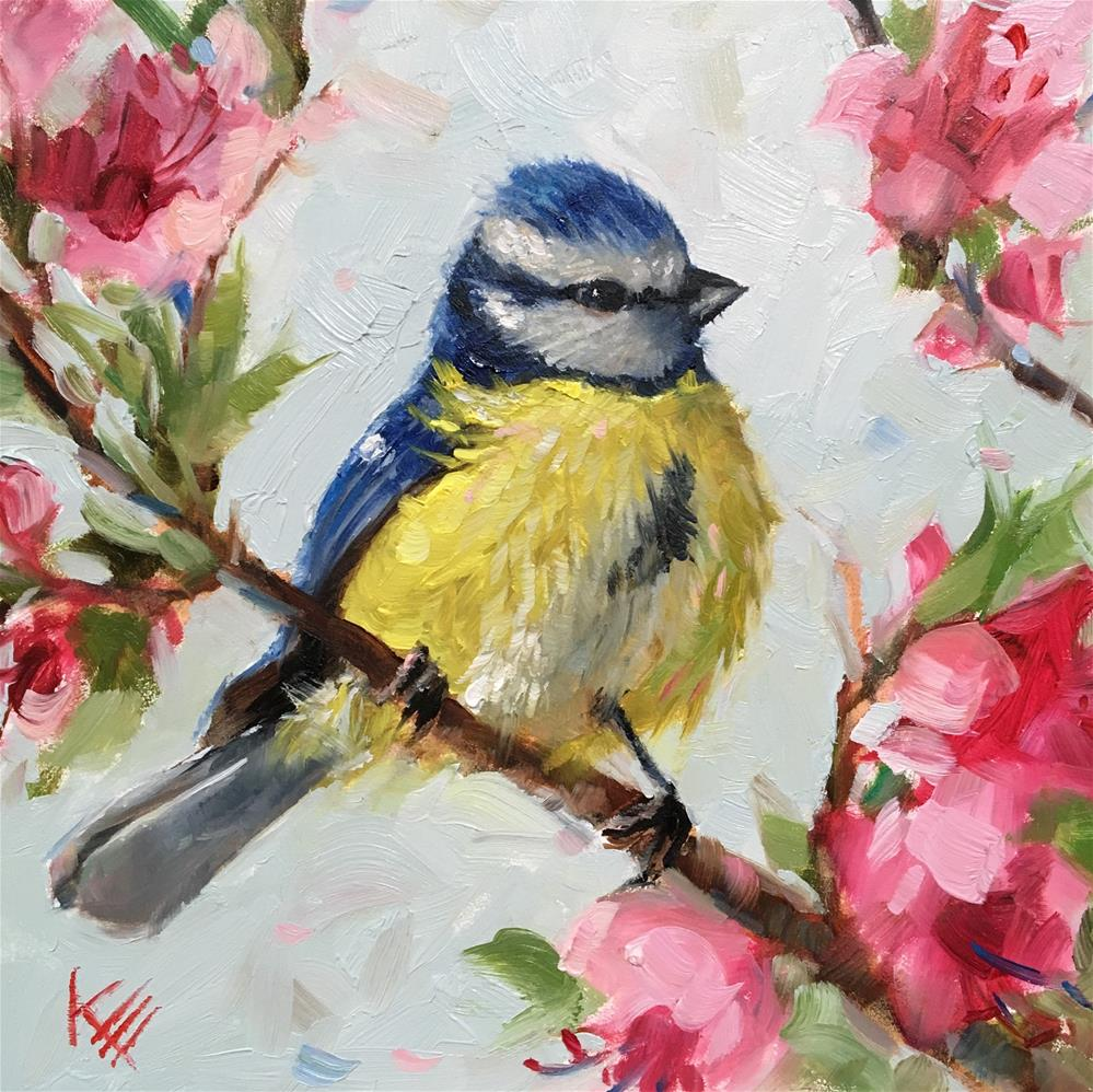 """Blue Tit & Blossoms "" original fine art by Krista Eaton"