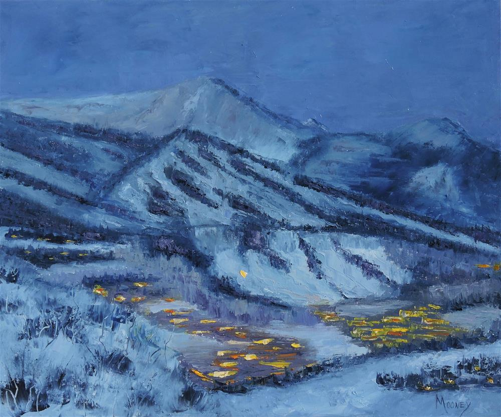 """Aspen Mountain Nocturne"" original fine art by Linda mooney"