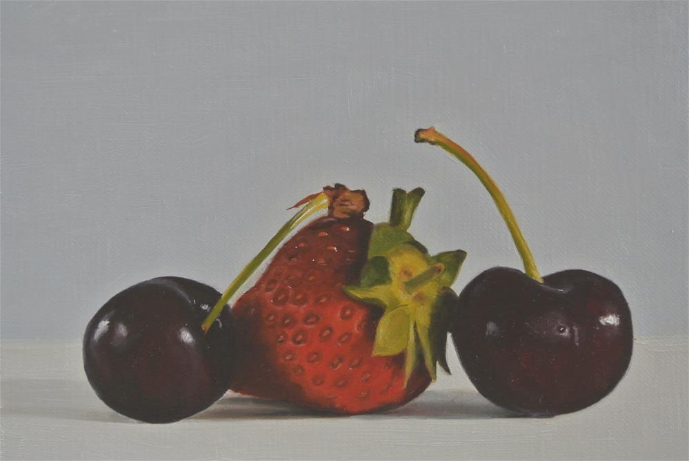 """Strawberry and Two Cherries"" original fine art by James Coates"