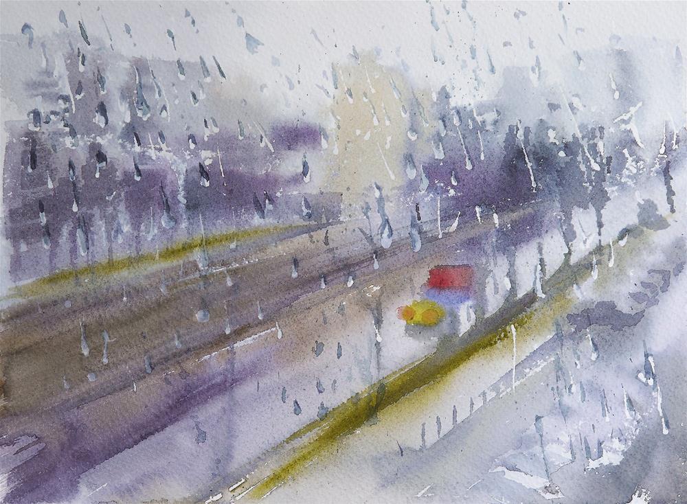 """rain"" original fine art by Beata Musial-Tomaszewska"