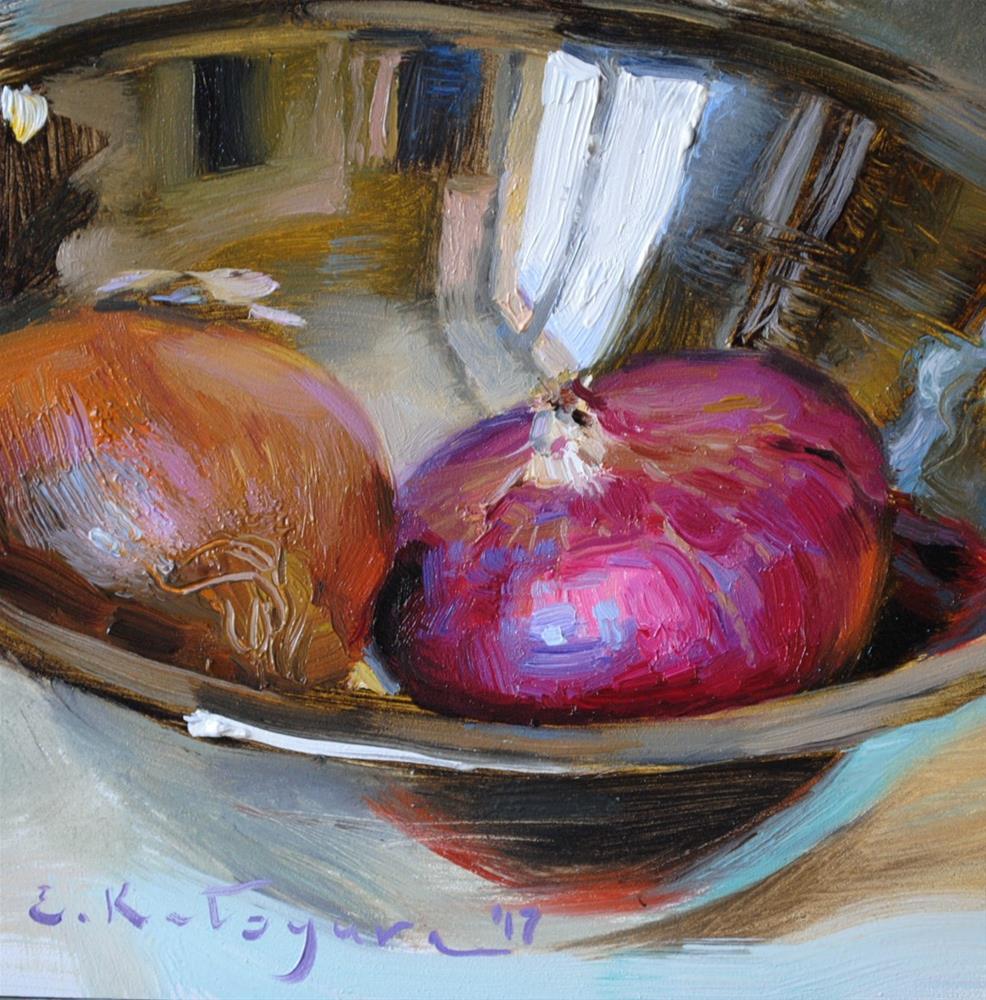 """Onions in Silver"" original fine art by Elena Katsyura"