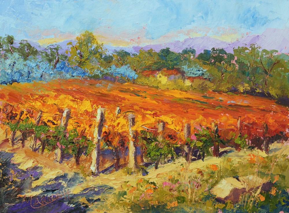 """Autumn Vines, Provence vineyard palette knife landscape painting by Marion Hedger"" original fine art by Marion Hedger"