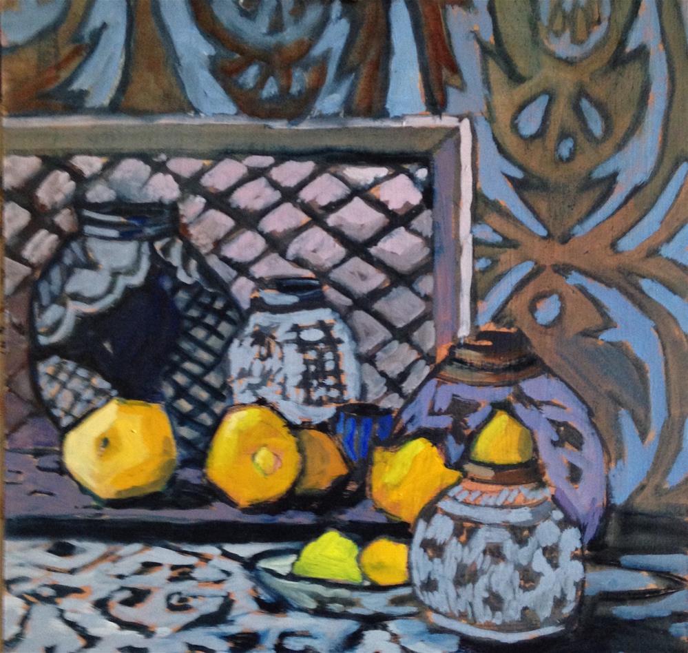 """""""Seven Lemons Leaping"""" original fine art by Pamela Hoffmeister"""