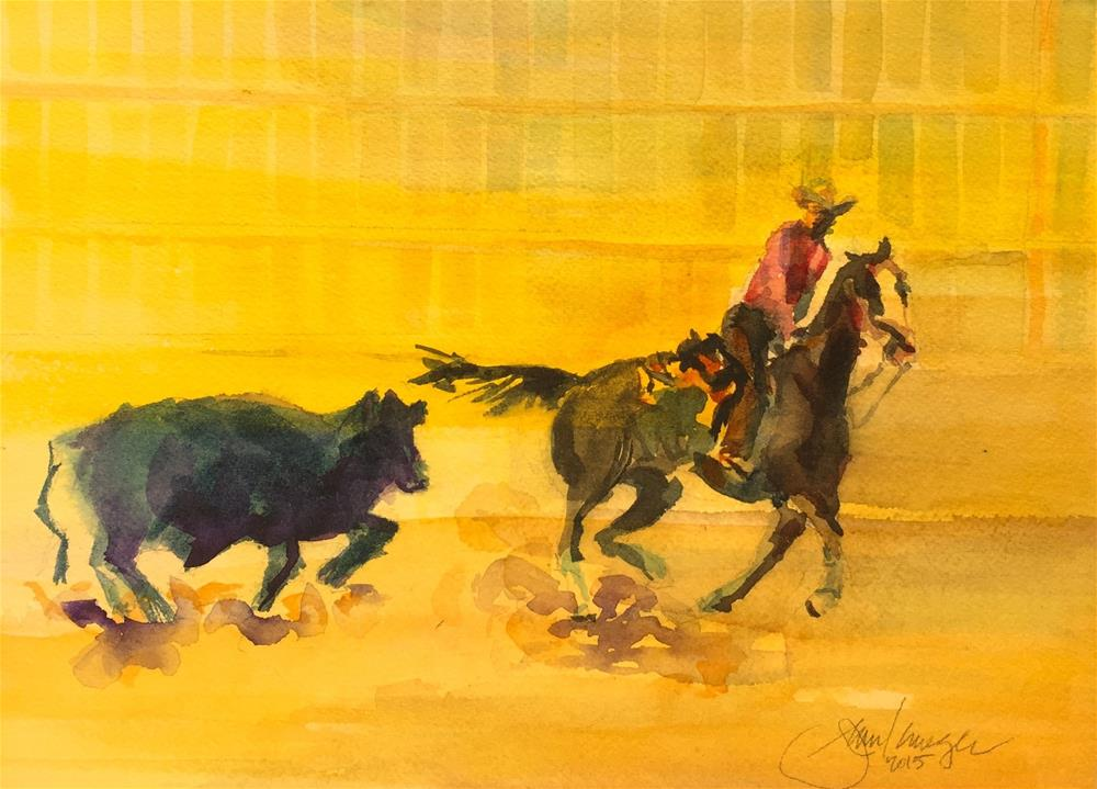 """Cattle Cutting, Westcliffe CO"" original fine art by Jean Krueger"