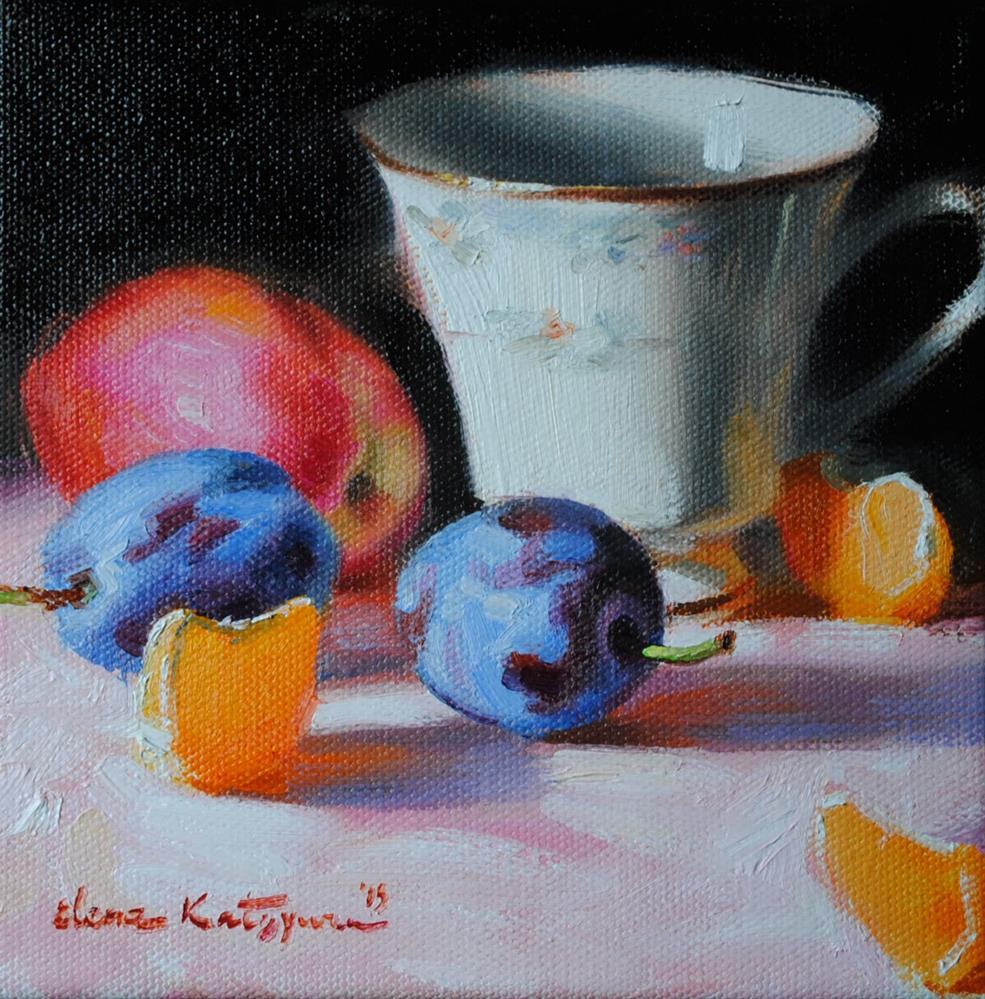 """Cup and Fruit"" original fine art by Elena Katsyura"
