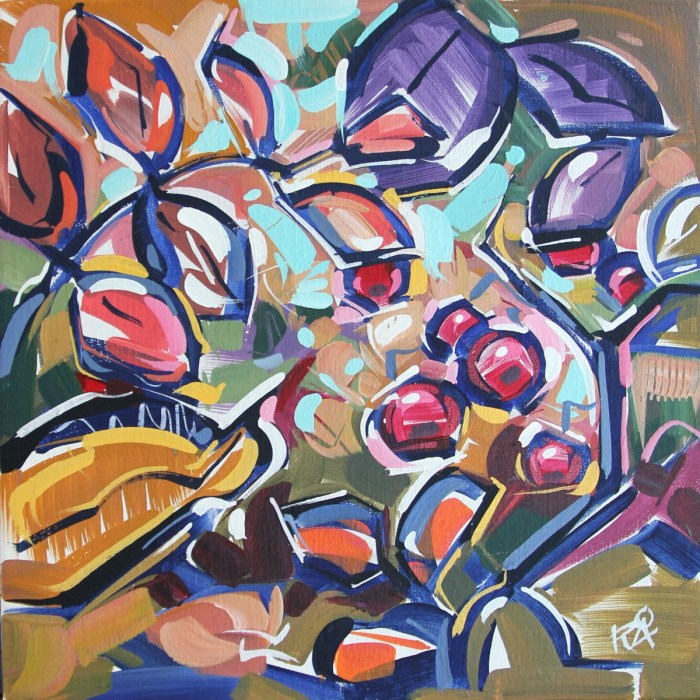 """Autumn Berry Abstraction 10"" original fine art by Roger Akesson"