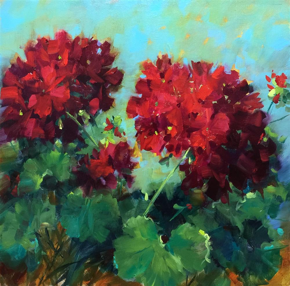 """Hearts in Harmony Red Geraniums"" original fine art by Nancy Medina"