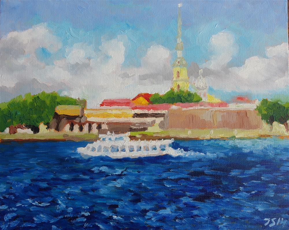 """boat on Neva river in St.Petersburg"" original fine art by Yuriy Semyonov"