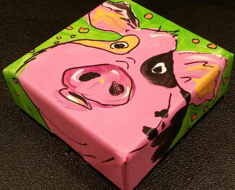 """""""Chunky Pink Pig"""" original fine art by Terri Einer"""