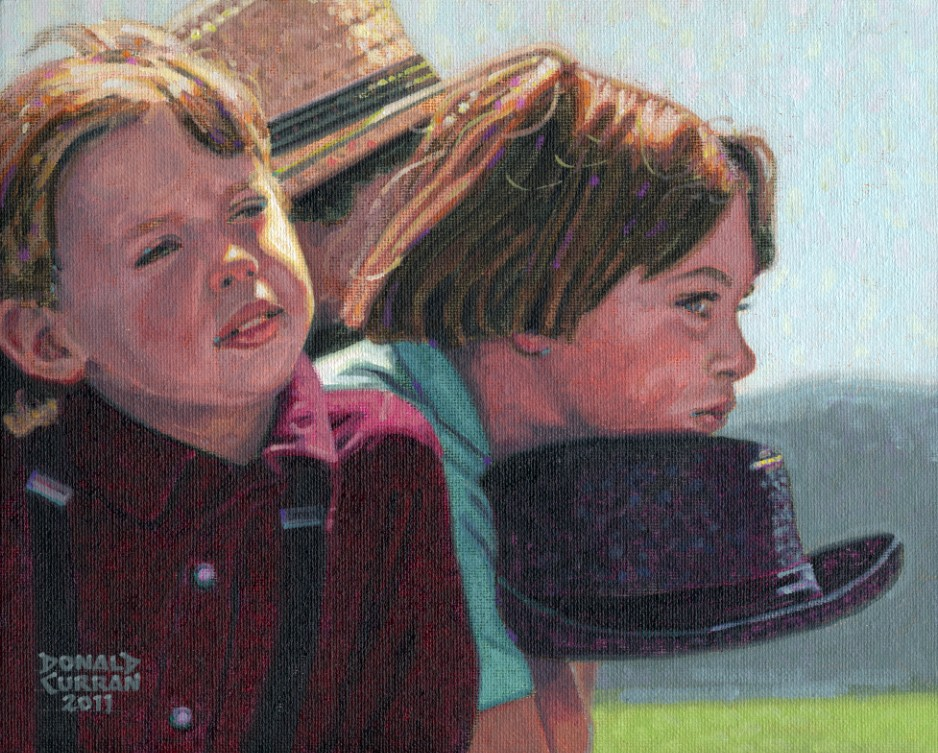 """Amish Kids"" original fine art by Donald Curran"