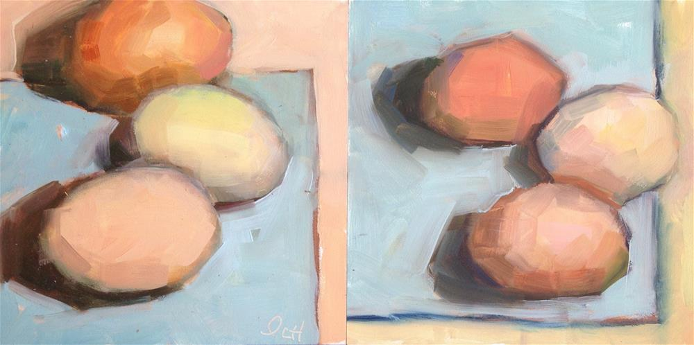 """Dyptych-Araucana Eggs"" original fine art by Pamela Hoffmeister"