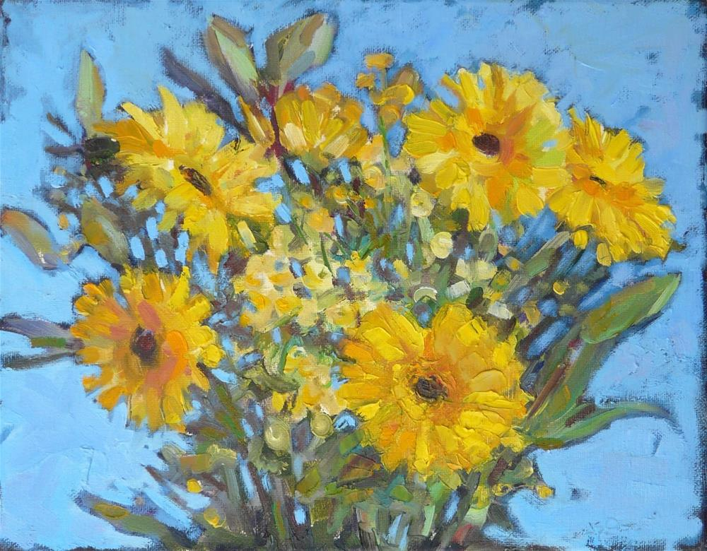 """Happy Yellow Flowers,still life,oil on canvas,11x14,price$300"" original fine art by Joy Olney"