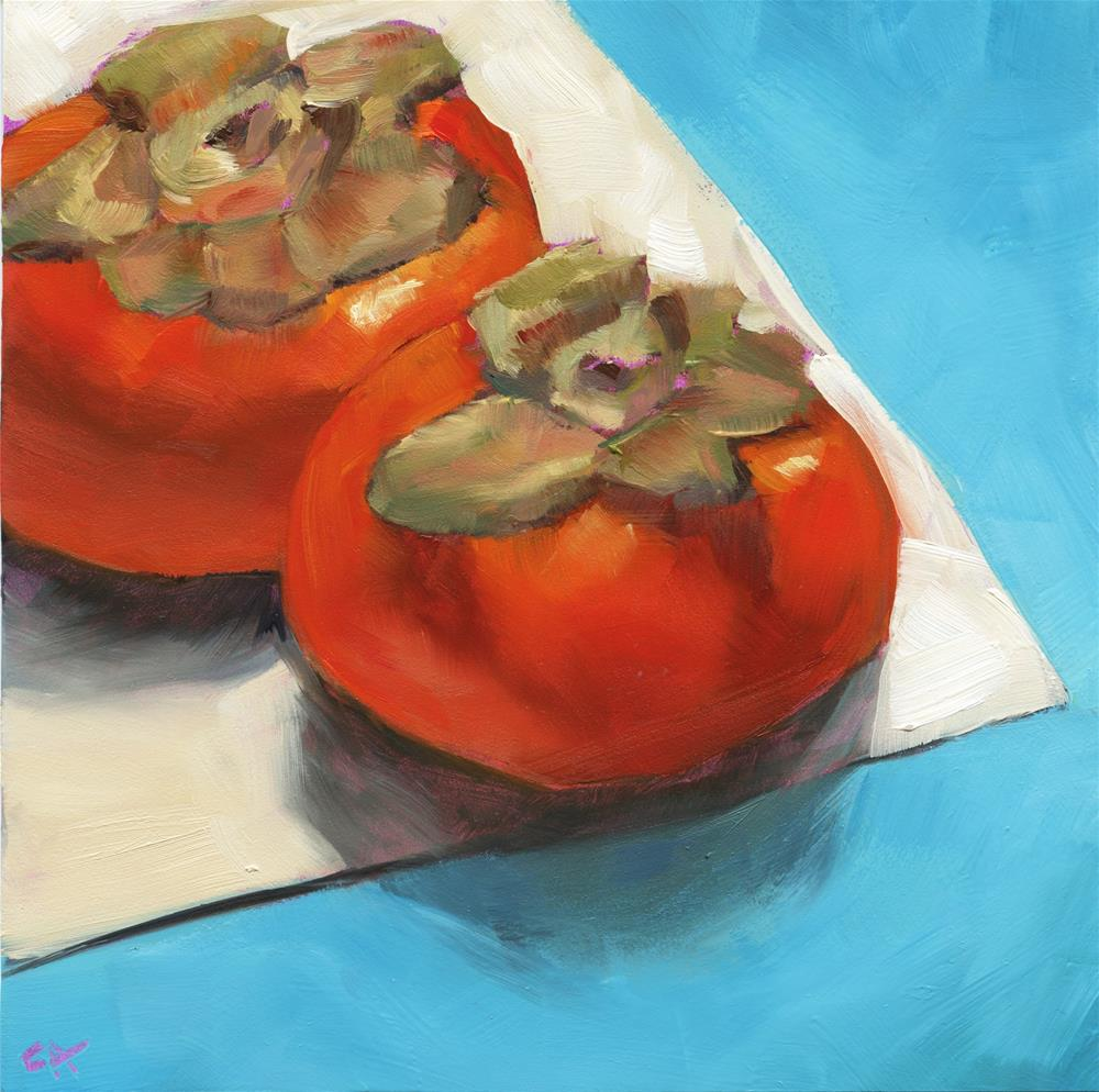 """Edgy persimmons"" original fine art by Cynthia Armstrong"