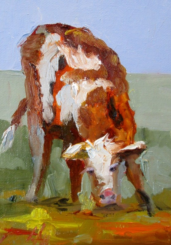 """Calf"" original fine art by Delilah Smith"