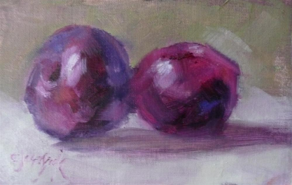 """Kissing Plums"" original fine art by Carol Josefiak"