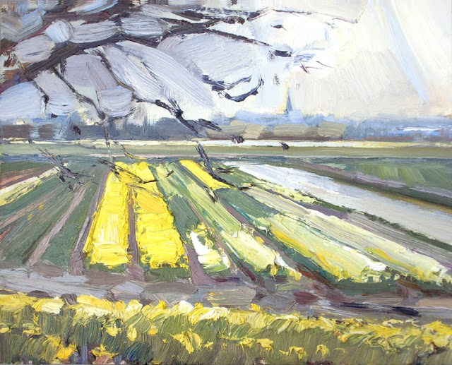 """Landscape spring #6 Old Holland feeling - church and yellow/white fields"" original fine art by Roos Schuring"