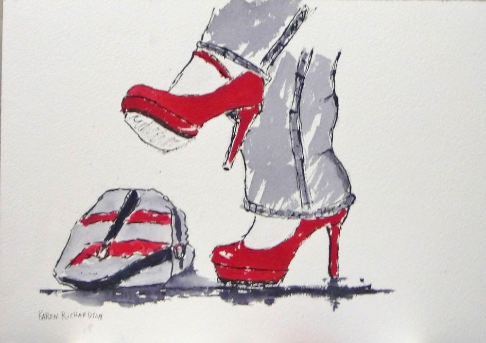 """Her Favorite Shoes"" original fine art by karen richardson"