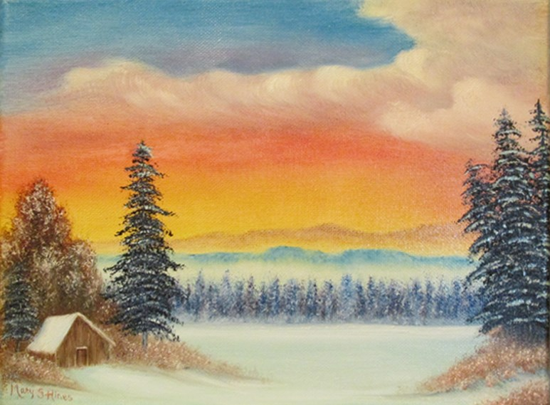 """Wintry Cabin"" original fine art by Mary Sylvia Hines"