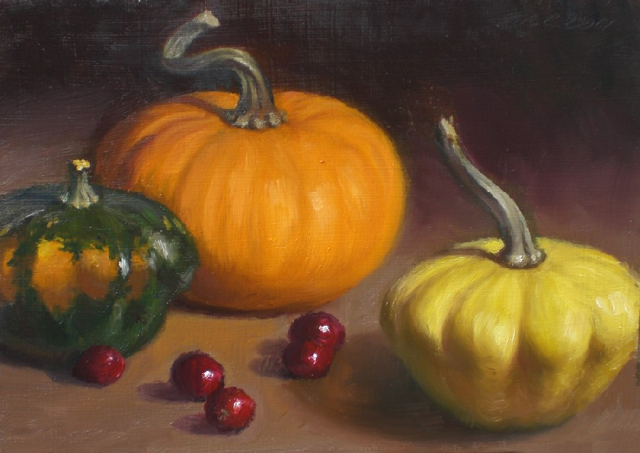 """Three Little Gourds"" original fine art by Debra Becks Cooper"
