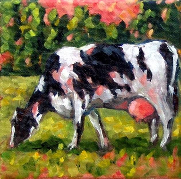"""Pink Cow"" original fine art by Irina Beskina"