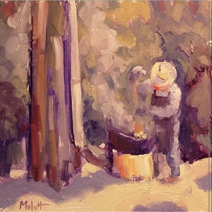"""Kettle Corn at the Autumn Apple  Festival Johnny Appleseed Painting"" original fine art by Heidi Malott"