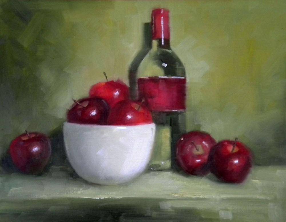 """Pinot Grigio on Green"" original fine art by Darla McDowell"