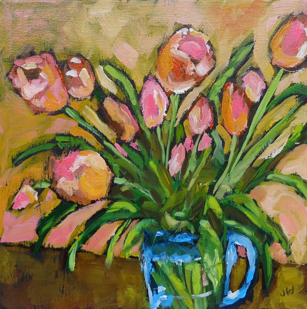 """Gold and pink"" original fine art by Jean Delaney"