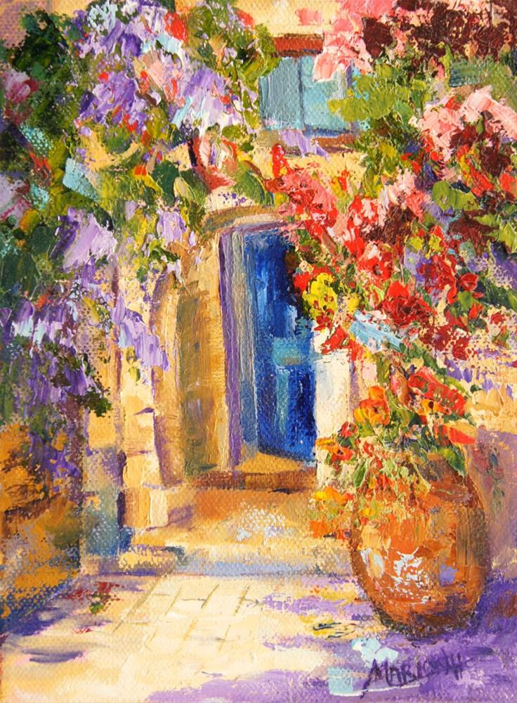"""Secluded Courtyard Tourettes-sur-Loup, oil painting"" original fine art by Marion Hedger"