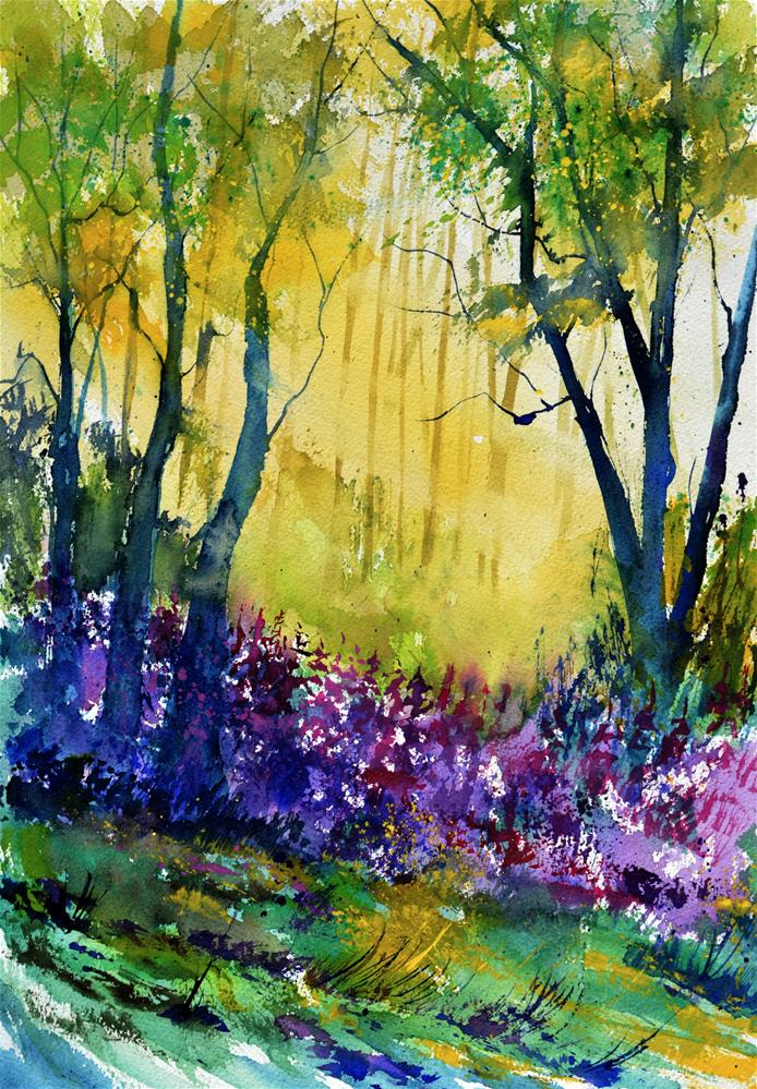 """Purple flowers"" original fine art by Pol Ledent"