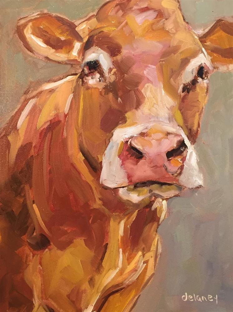 """Cow 88 SMOOTH TALKER"" original fine art by Jean Delaney"