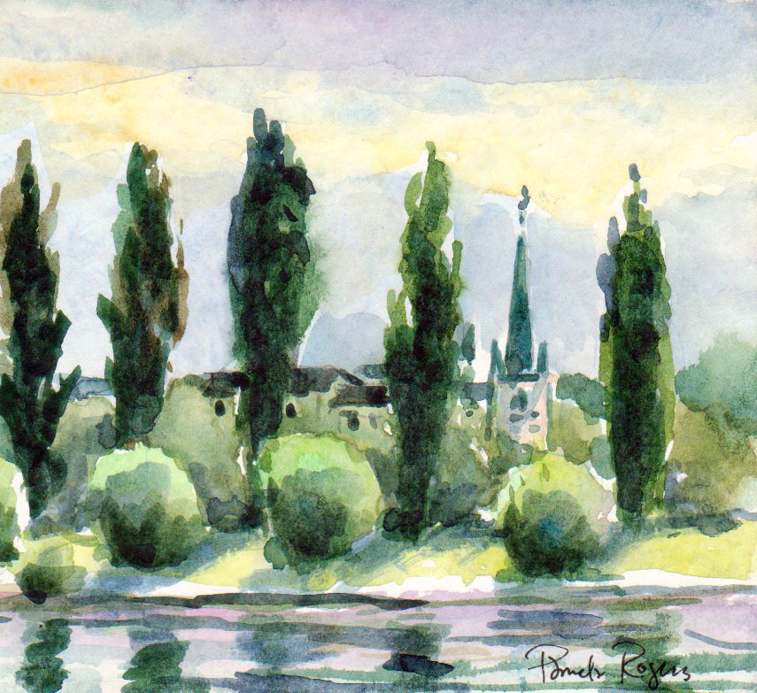"""Church and Steeple-Rhein River"" original fine art by Pamela Jane Rogers"