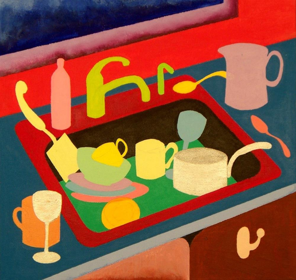 """Kitchen Sink with Dishes"" original fine art by Lisa Fulton"