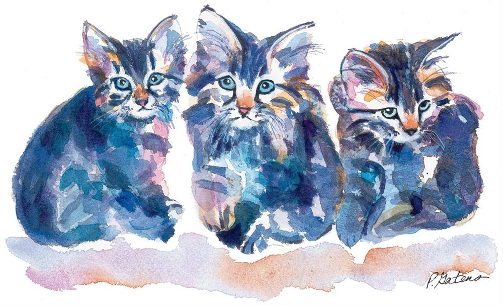 """Crazy Quilt Kittens"" original fine art by Pamela Gatens"