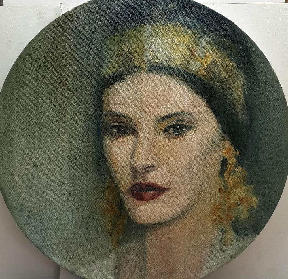 """Round canvas: Regal lady"" original fine art by Rentia Coetzee"