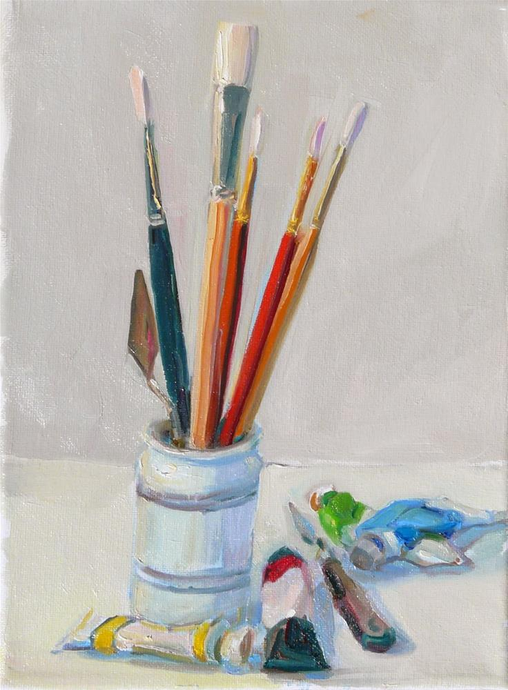 """My Tools.still life,oil on canvas,12x9,price$350"" original fine art by Joy Olney"