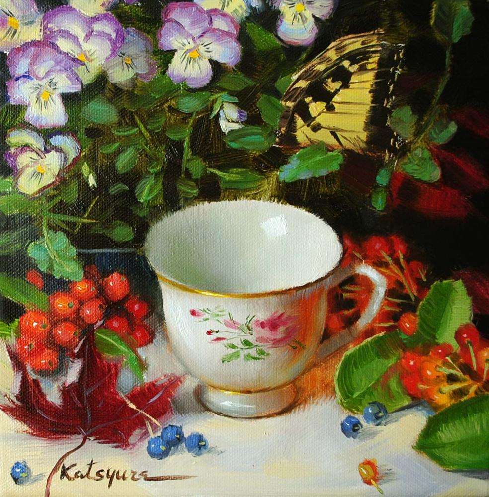"""Teacup and Butterfly"" original fine art by Elena Katsyura"